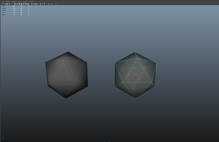 Two icosehedrons created in Maya, one solid, the other slightly transparent